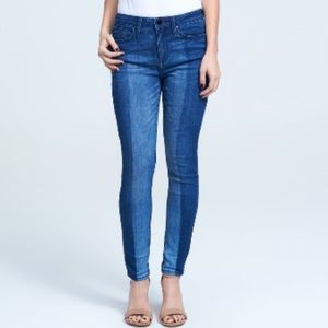 Seven7 Mid Rise Skinny Jeans Two Tone Wash Blue